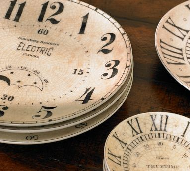 vintage clock plate & dipping bowl set