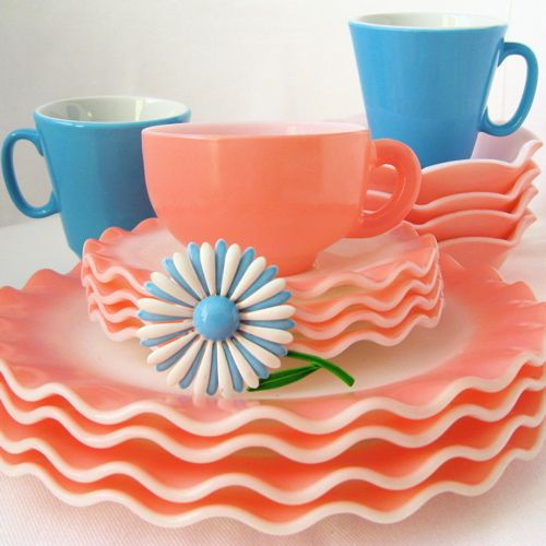 Vintage Pink and Blue Glass Dishes
