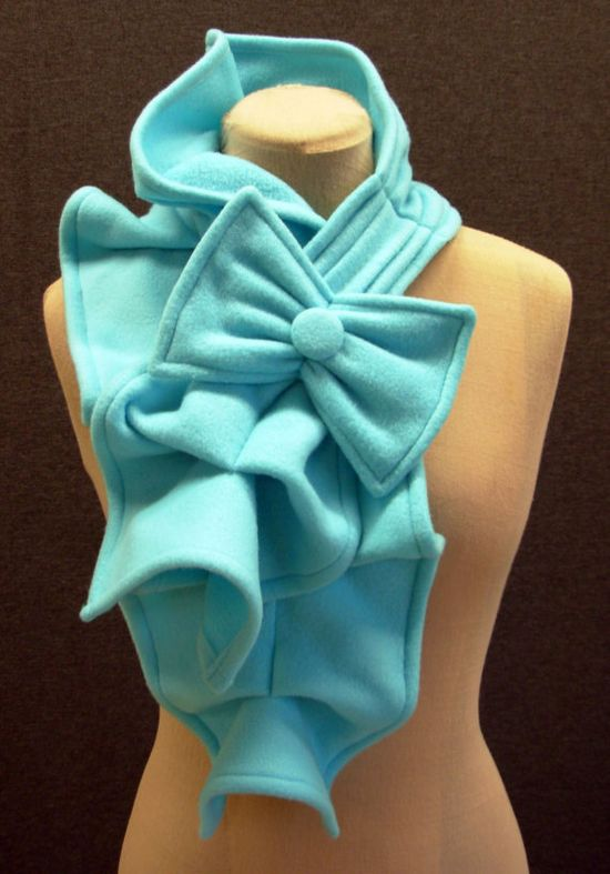 Fleece ruffled bow scarf