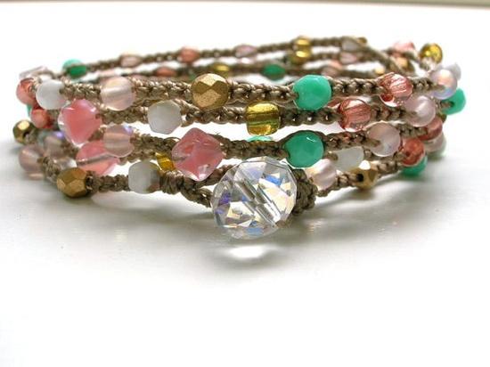 crocheted layered bracelet