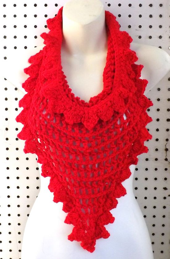 Double Crochet Triangle Scarf with Tie Strings in Red