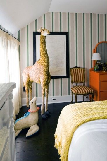 Children's bedroom in Kate and Andy Spade's Southampton home decorated by Steven Sclaroff...