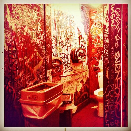 The graffiti on the bathroom walls of Papalote in the Mission