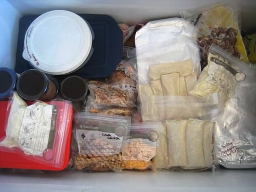 Freezer meals in the freezer, includes freezer cooking plan to cover back to school meals.
