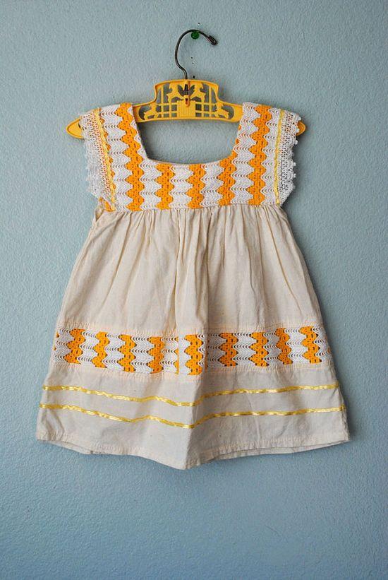Sweet vintage girls dress #cream #orange #creamsicle #dress #baby #girl #toddler