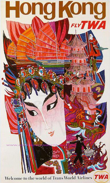 Vintage TWA poster: Visit Hong Kong travel poster