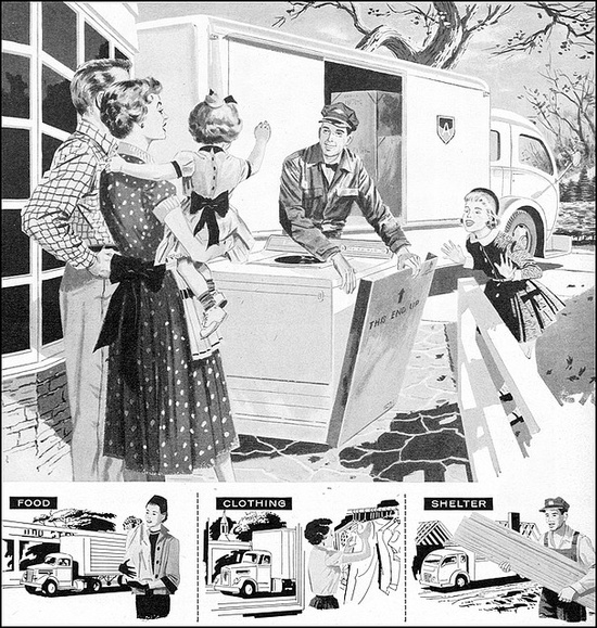 The whole family gathered 'round for new washing machine day! #vintage #family #homemaker #mother #father #truck #1950s