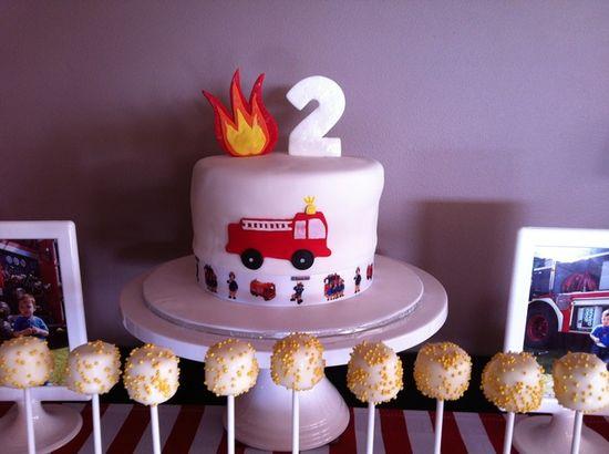 Cake at a Firetruck Party #firetruck #partycake