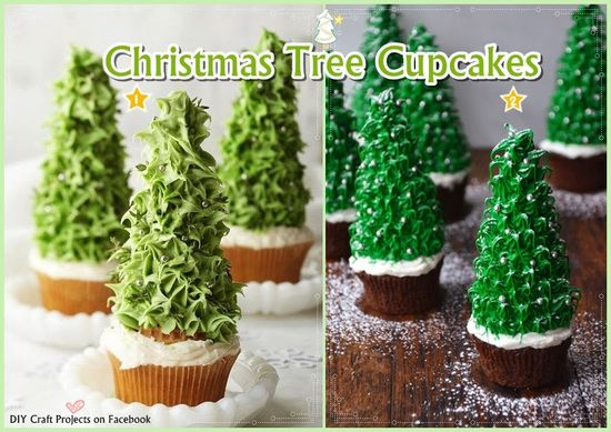DIY Christmas Tree Cupcakes DIY Cupcakes Yummy Food Cupcakes Recipe