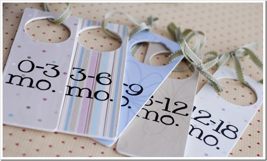 cute baby gift, closet tags for organizing different sized baby clothes