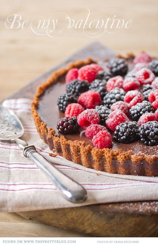 Chocolate tart with fresh berries