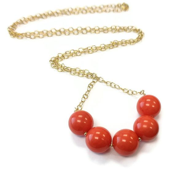 Coral Necklace Yellow Gold Jewelry Long Chain by jewelrybycarmal, $55.00