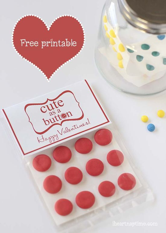 "Love this free #Valentine printable on iheartnaptime.com ... ""Cute as a button."""