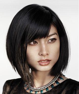A medium black straight coloured bob Womens haircut hairstyle by KMS Hair