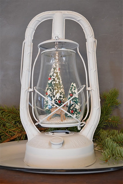 a Christmas scene in an old lantern - I love it!