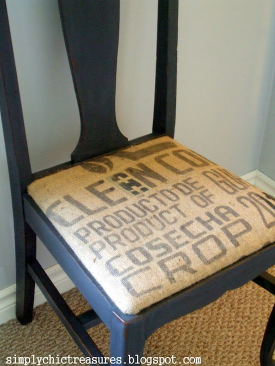 Burlap chair makeover.   60 DIY Furniture Makeovers