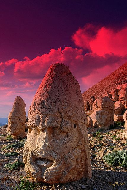 Ruins on Mount Nemrut, Turkey, burial site of kings, date from the first century B.C.