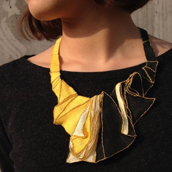 "Mina Kang - ""Mixture 9"" necklace - ramie fabric 2013"
