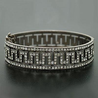 Art Deco Sterling & French Paste Bangle Bracelet, ca. 1920