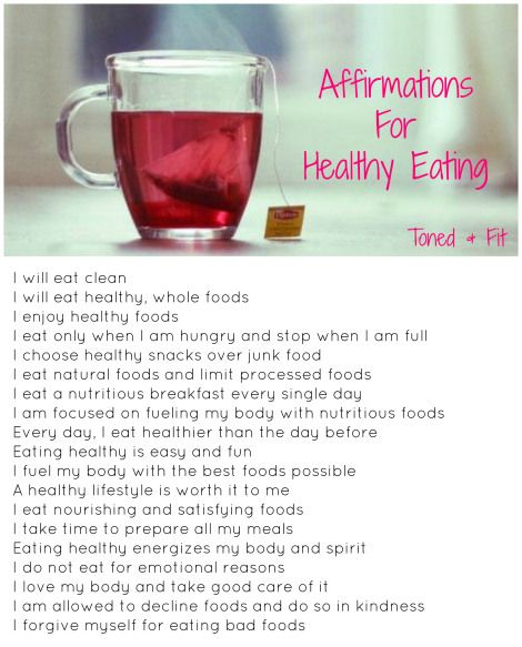 Affirmations For Healthy Eating