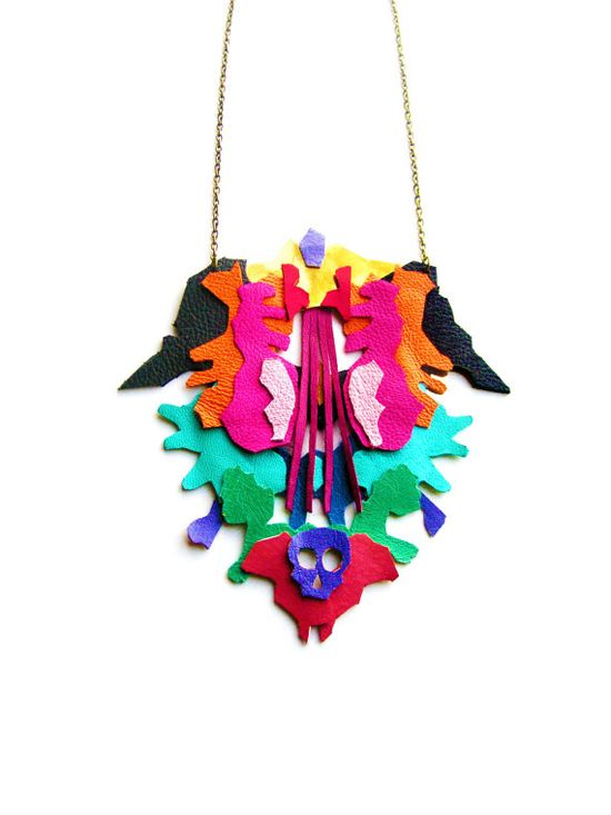 Geometric leather ink blot necklace, $65