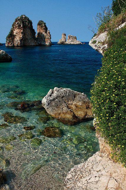 Mediterranean blue at Tonnara di Scopello in Trapani province, region of Sicily, Italy
