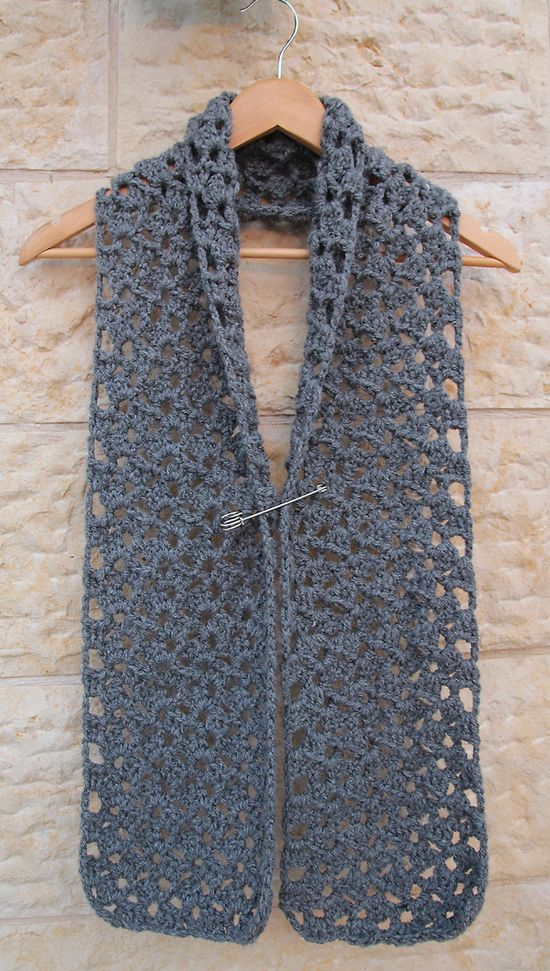 Crochet Chunky Lacy Quick Scarf
