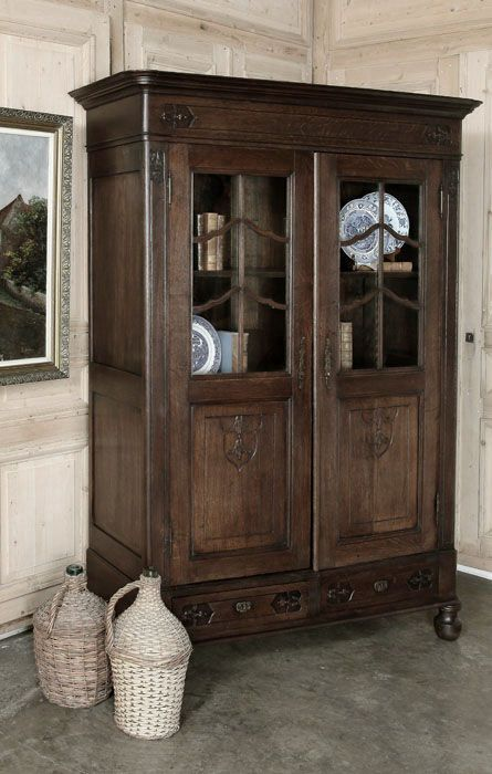 Antique Country French Vitrine / Bibliotheque