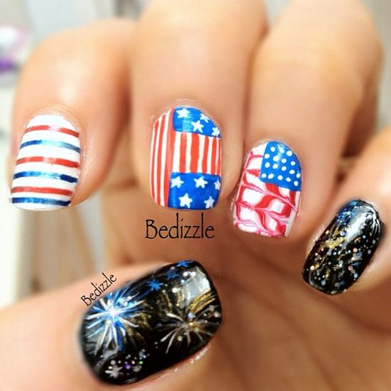 bedizzle's festive tips. Show us your 4th of July-inspired nails! Tag your pic #SephoraNailspotting to be featured on our social sites.
