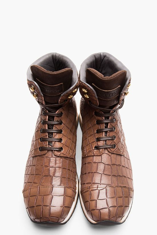 ALEXANDER MCQUEEN Brown Croc-Embossed Leather High-Top Sneakers
