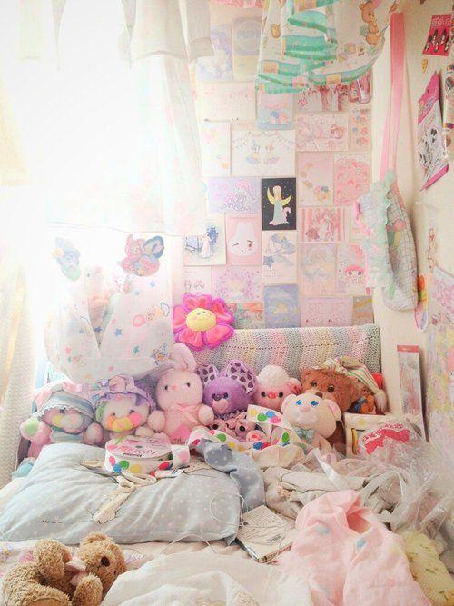 #stuffed #animals #pink #pastel #bedroom