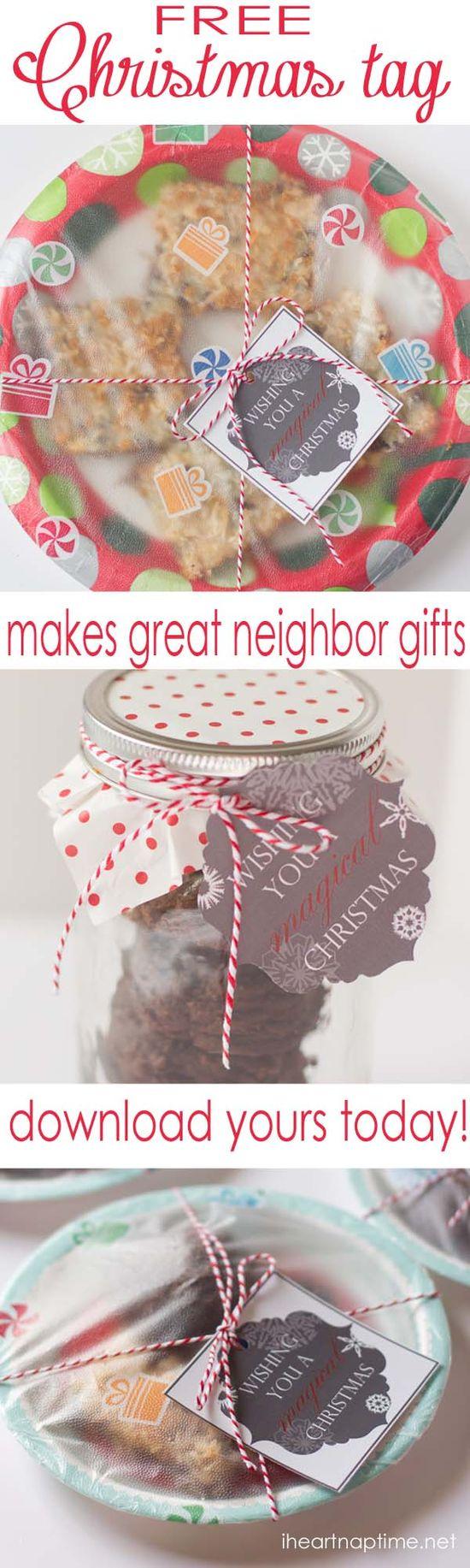 Free printable #Christmas tag on iheartnaptime.net ...great for neighbor gifts!