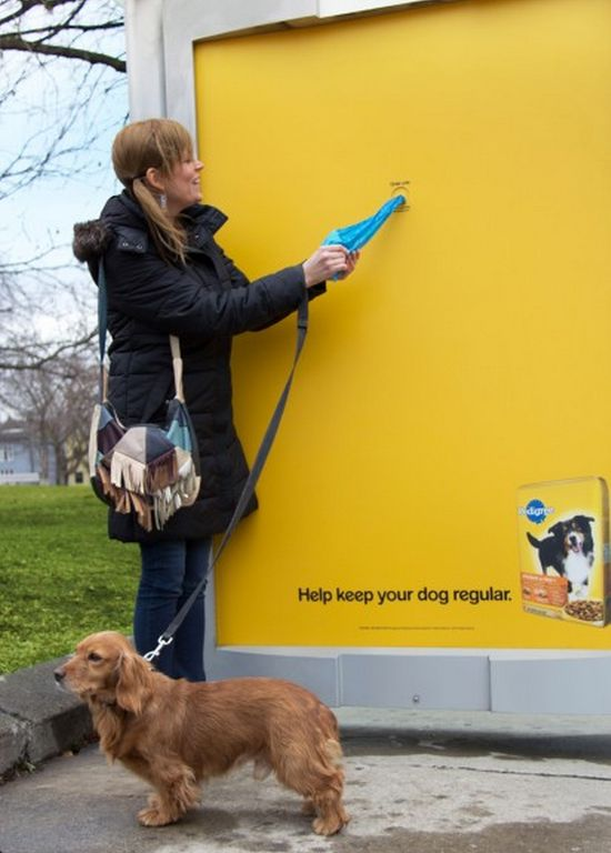 Pedigree  Agency: Proximity BBDO, Canada  Because dogs relieving themselves in public spaces is a problem, this shelter gave out free bags to help clean up the mess. via www.simplyzesty.com/