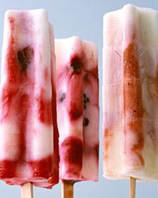Fruit & yogurt popsicles.