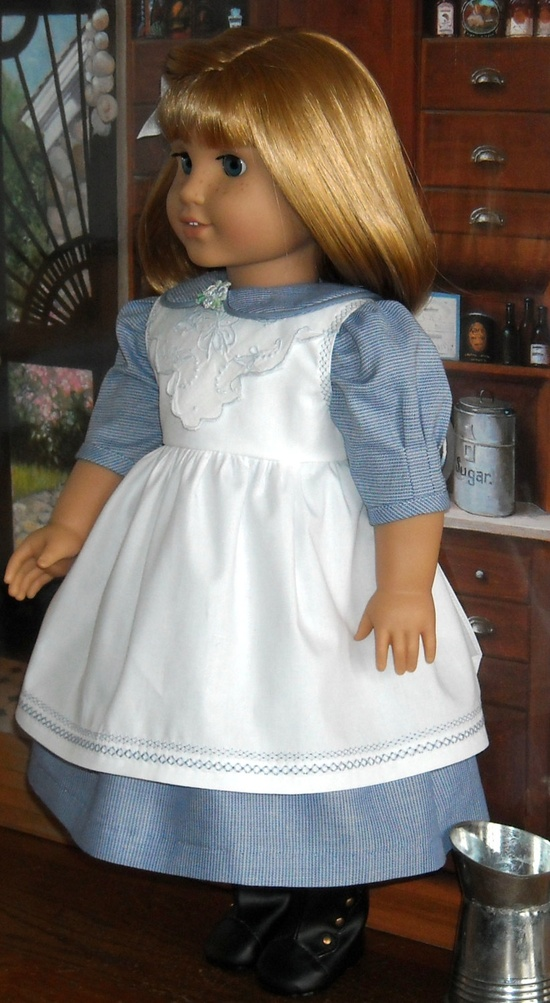 1900s Dress & Pinafore for Nellie, Samantha, and others. $85.00, via Etsy.