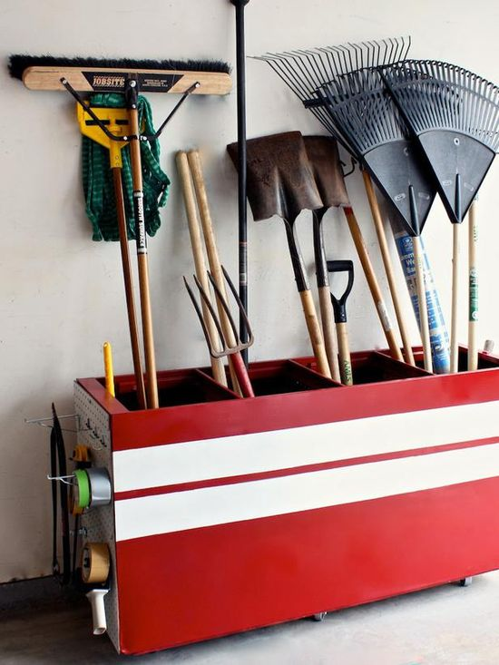 Repurposed File Cabinet Storage. Using spray paint, she painted it a bold red hue with white racing stripes on the front. The ends are sporting pegboard facades for even more handy storage. Haydee also added a wood plank to the bottom in order to attach casters, making her creation completely mobile for busy outdoor days.