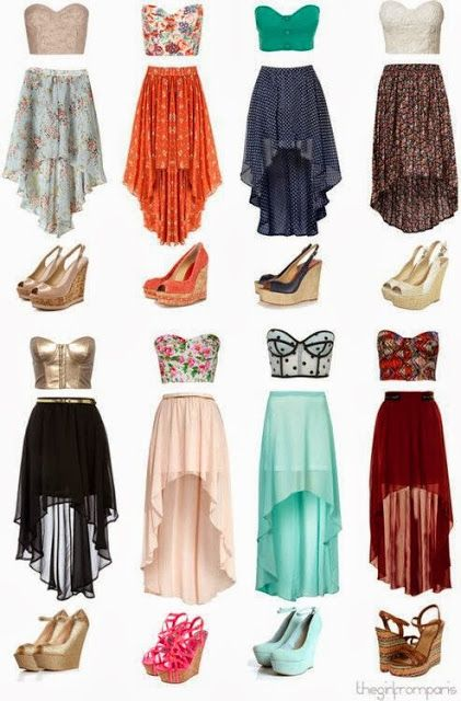 Skirts and bandeaus. hot summer outfits