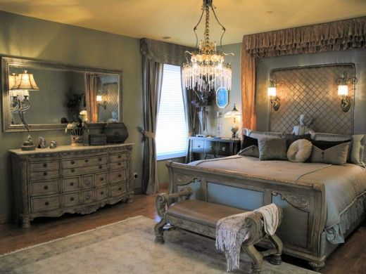romantic old world master bedroom