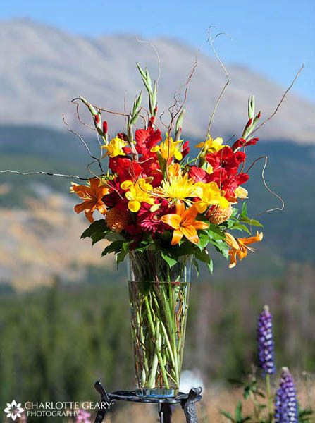 Autumn flower arrangement for wedding ceremony