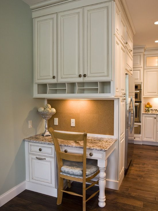Kitchen built in desk small in the side of cabinets?