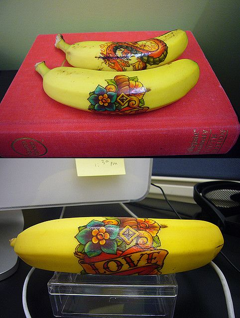 Temporary tattoo on a banana. What kid wouldn't love finding a Spiderman or Hello Kitty banana in their lunchbox?