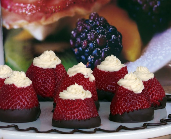 Choc dipped strawberries filled with sweetened cream cheese