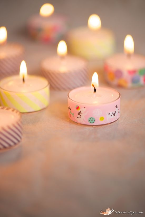 DIY::  Tea lights with washi tape aren't they pretty ?