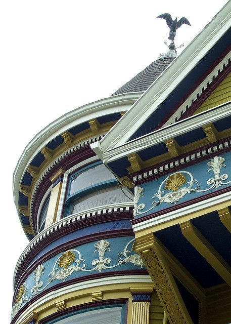 Architectural details on a San Francisco Victorian house.  The painted ladies of San Francisco are worth the trip to see in person.
