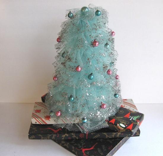 vintage blue christmas tree