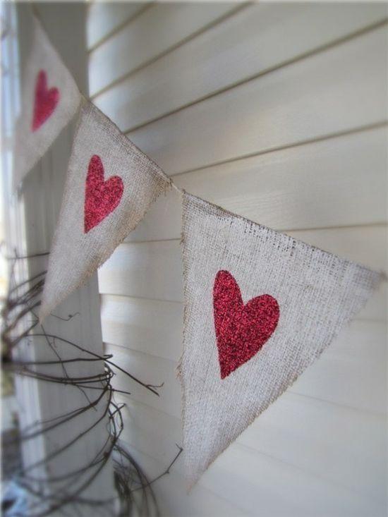 painted burlap Valentine banner