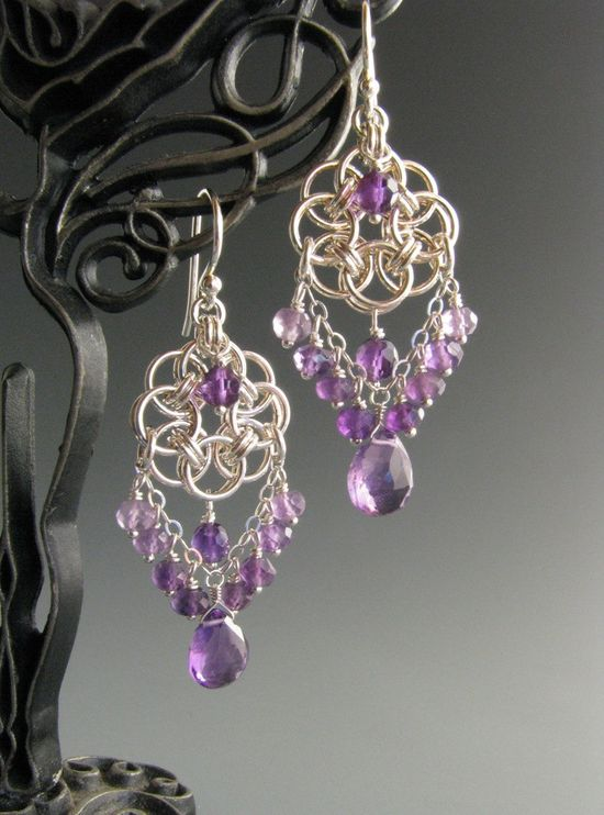 Helm Circle Chainmaille Earrings with Amethyst. $45.00, via Etsy.