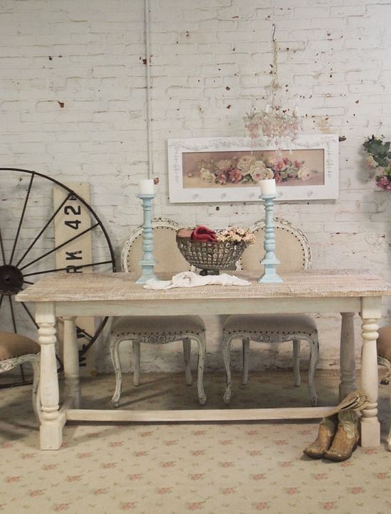 Painted Cottage Chic Shabby French Linen Farm Table [TBL32] - $995.00 : The Painted Cottage, Vintage Painted Furniture