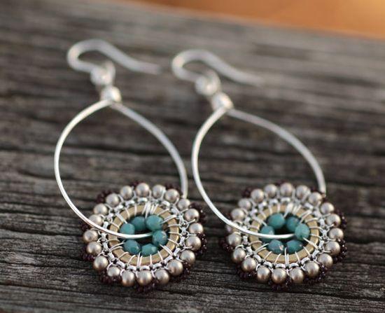 Teardrop Bloom Earrings - Moonlight - Jewelry, Dangle, Drop, Beadwork, Handmade, Earrings, Jewelry.
