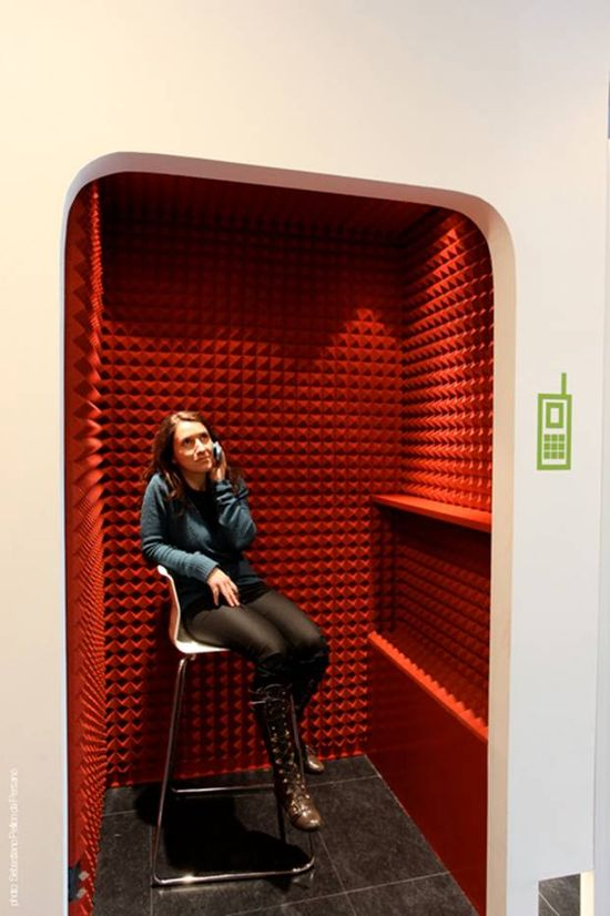 Phone Booth with acoustic material lining